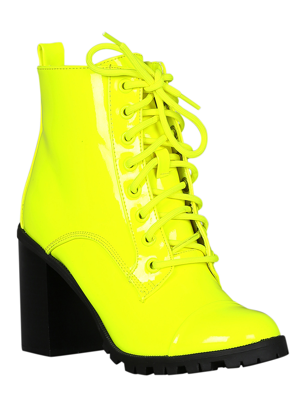 Women Patent Cap Toe Lace Up Lug Sole Chunky Heel Ankle Boots 18294