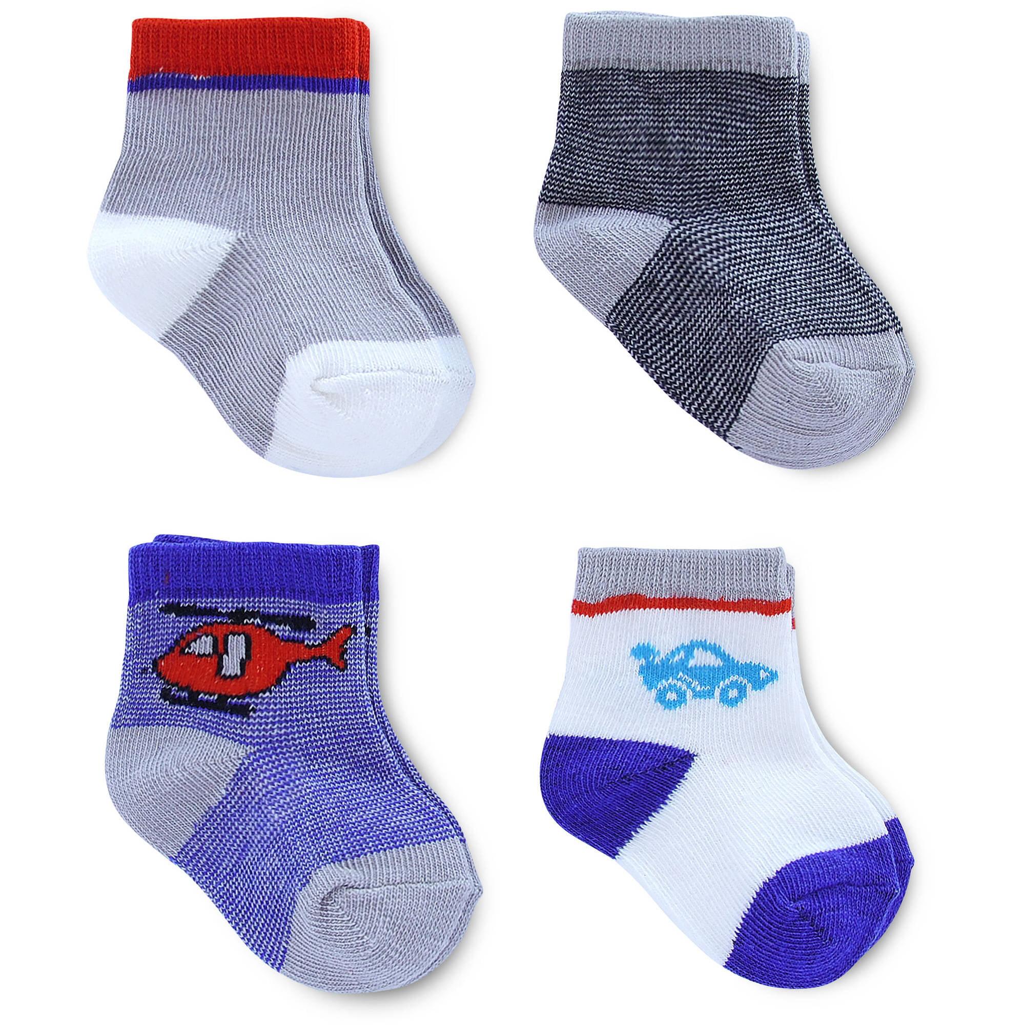 4 Pack Child of Mine by Carter/'s Newborn Baby Boy Monkey Assorted Blue Crew Socks