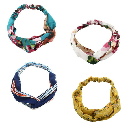 Mini-Factory Retro Style Elastic Twisted Headband Classic Hair Wrap Accessories for Women - 4pcs
