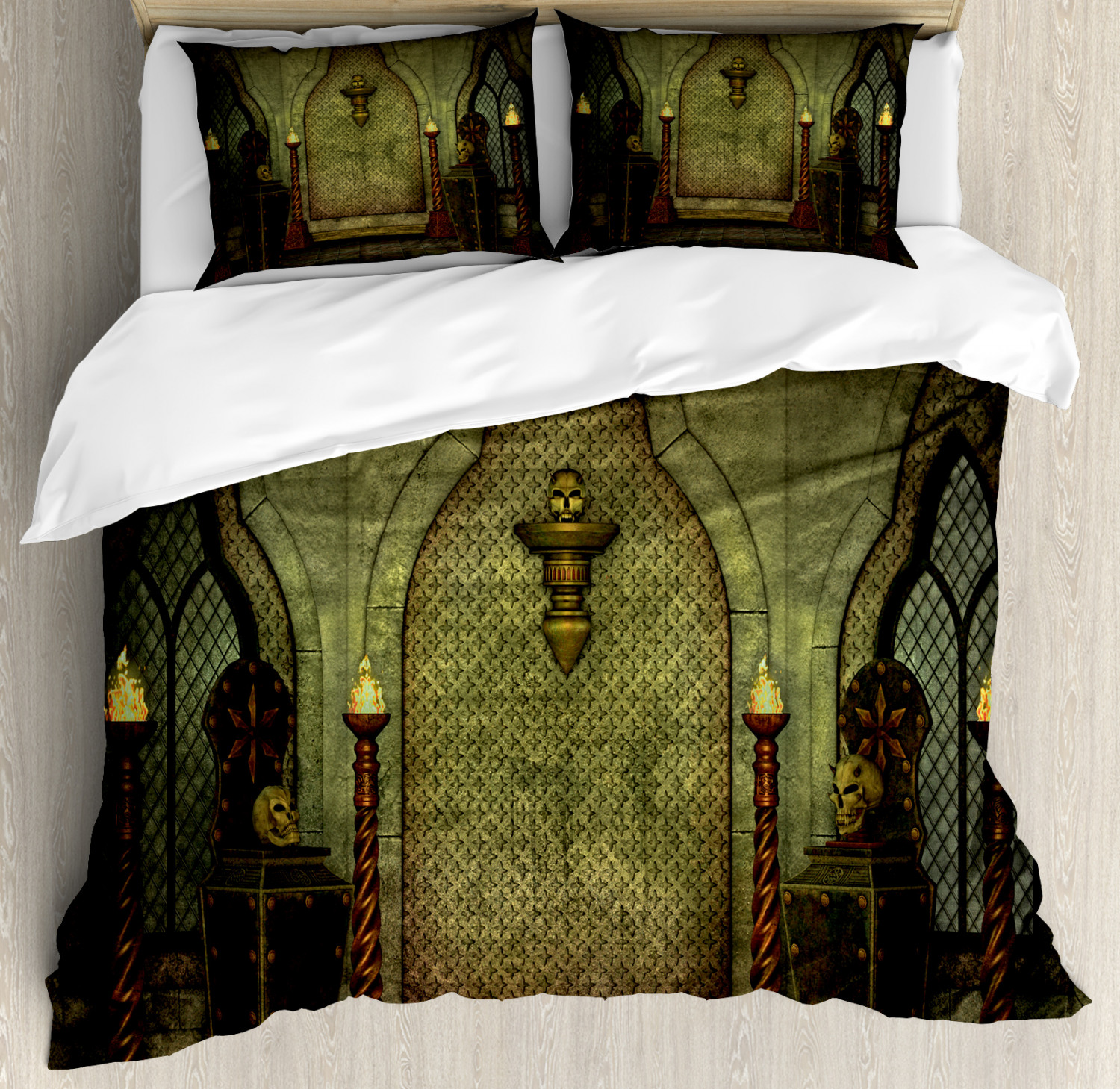 Gothic Duvet Cover Set Fantasy Scene With Old Fashioned Wooden Torch And Skull Candlesticks In Dark Spooky Room Decorative Bedding Set With Pillow Shams Brown By Ambesonne Walmart Com Walmart Com