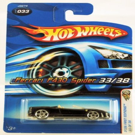- Hot Wheels - 2006 First Editions - 33/38 - Ferrari F430 Spider - Black Convertible - #033 - Limited Edition - Collectible 1:64 Scale
