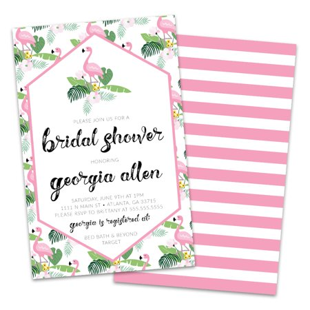 Personalized Flamingos Bridal Shower Invitations