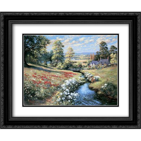 An English Cottage Garden 2x Matted 24x20 Black Ornate Framed Art Print By Willington Bernard