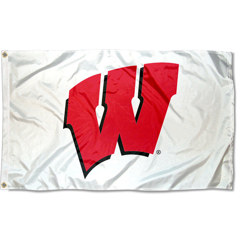 Wisconsin Badgers White 3' x 5' Pole Flag