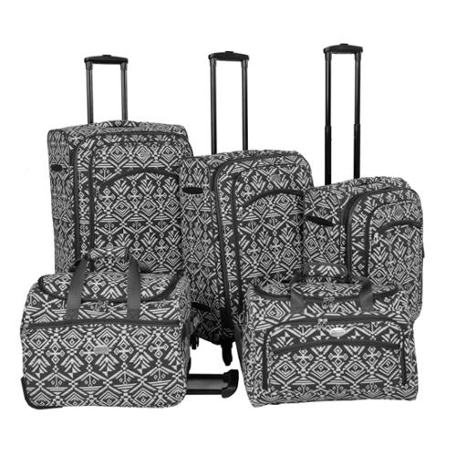 American Flyer Aztec 5-piece Expandable Spinner Luggage Set Blue