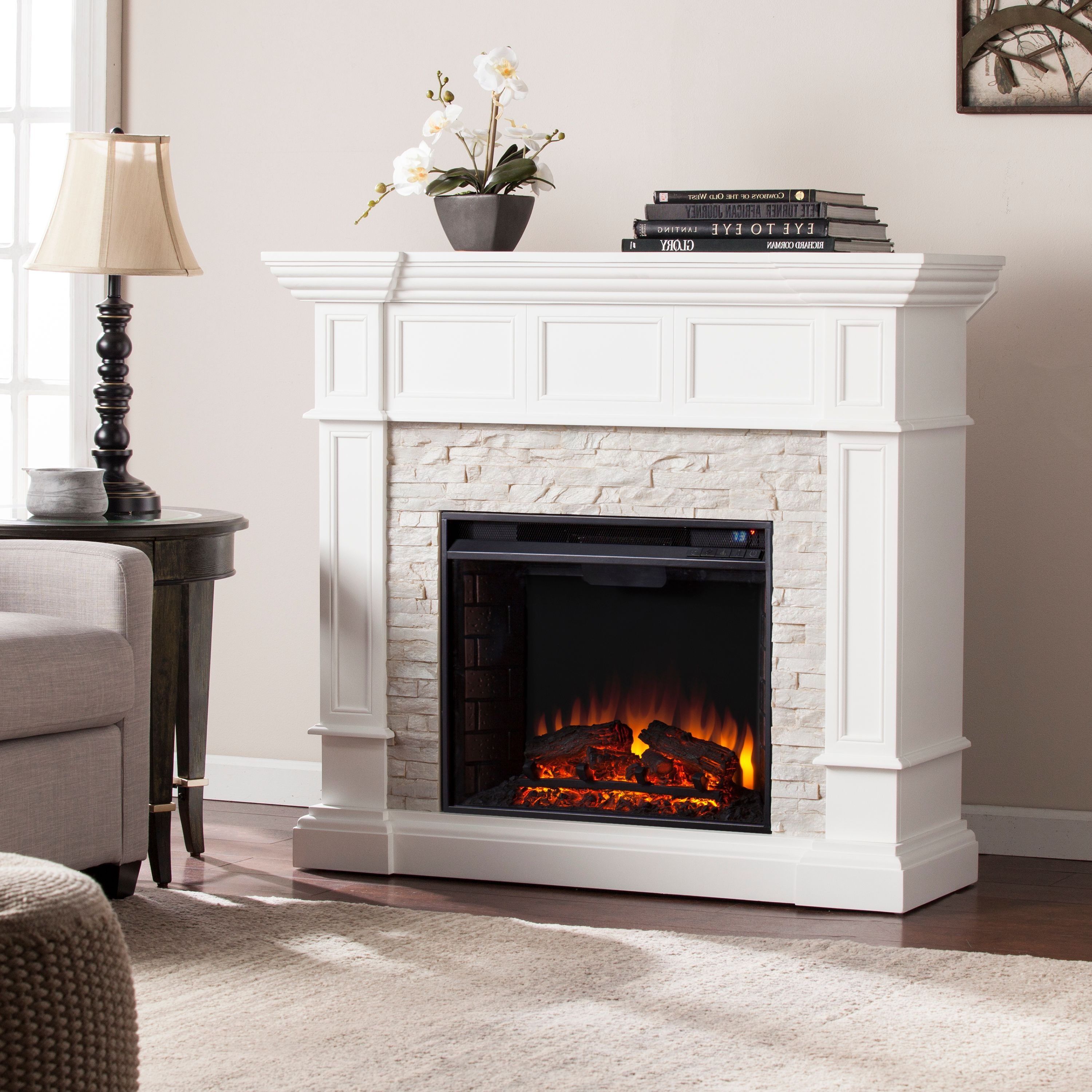 Ignatius Corner Convertible Electric Fireplace, White