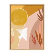 Kate and Laurel Sylvie Sunrise Dove Framed Canvas Wall Art by Kate Aurelia Holloway, 18x24 Natural, Geometric Art For Living Room, Bedroom, Entryway or Dining Room
