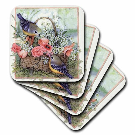 3dRose Pretty sparrows in a beautiful basket of roses , Soft Coasters, set of 8