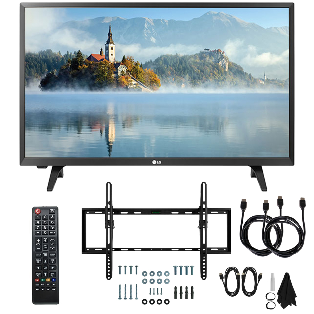 """LG 28LJ430B-PU 28"""" Class HD 720p LED TV (2017 Model) with Slim Flat Wall Mount Kit and Two (2) 6 Foot HDMI Cables Ultimate Bundle"""