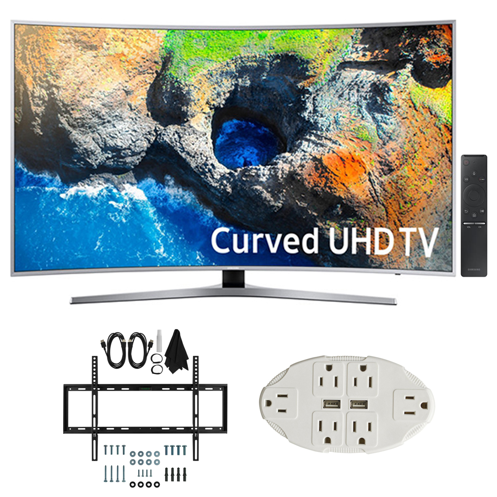 "Samsung UN49MU7500 48.5"" Curved 4K UHD Smart LED TV 2017 Model w/ Wall"