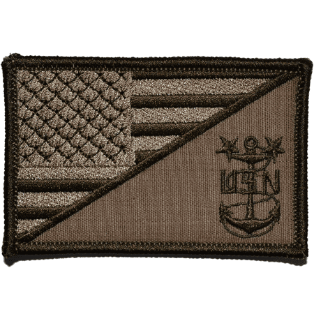 Navy MCPO Master Chief Petty Officer USA Flag - 2.25x3.5 inch Patch Mastering Machine Applique
