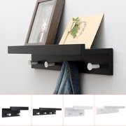 """Metal Wall Mounted Coat Rack Shelf - Black & White Wooden Style 9/19"""" Entryway Shelf with 2/4 Hooks, Perfect touch for your Entryway, Mudroom, Kitchen, Bathroom and More"""