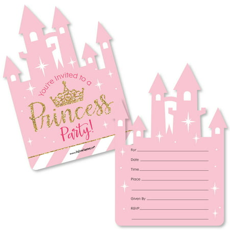 Little Princess Crown - Shaped Fill-In Pink and Gold Princess Baby Shower or Birthday Party Invitation Cards - Set of 12 - Golden Ticket Birthday Invitation
