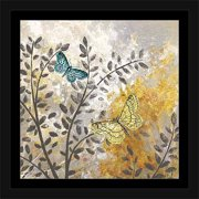 Botanical Butterfly Texture Painting Grey & Yellow, Framed Canvas Art by Pied Piper Creative