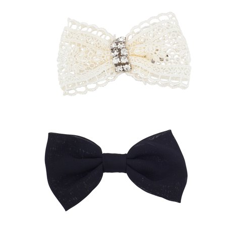 Lame Bow (Lux Accessories Black and White Lace Holiday Assorted Bow Clip Set 2pc)