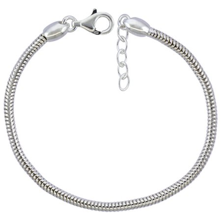 Sterling Silver Snake Chain Charm Bracelet 3mm Screw Cap Pandora Compatible Nickel Free Italy, 7.5-8 inch