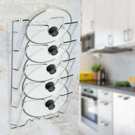 EECOO Pot Lid Holder,Wall/Door Mounted Kitchen Cabinet Storage Rack Holder for Pot & Pan Lids Pan Lid Storage