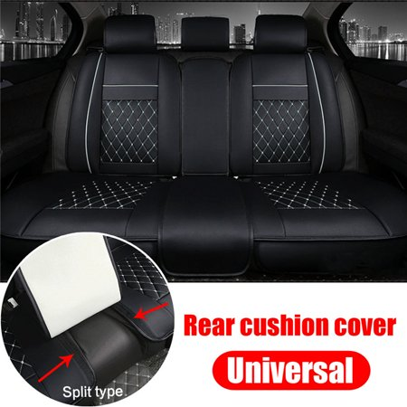 Car Seat Cover PU Leather Rear Seats Bench Cushion Mat Split Type Universal Fit For 5 Seat ( Only Rear Seat Cover )