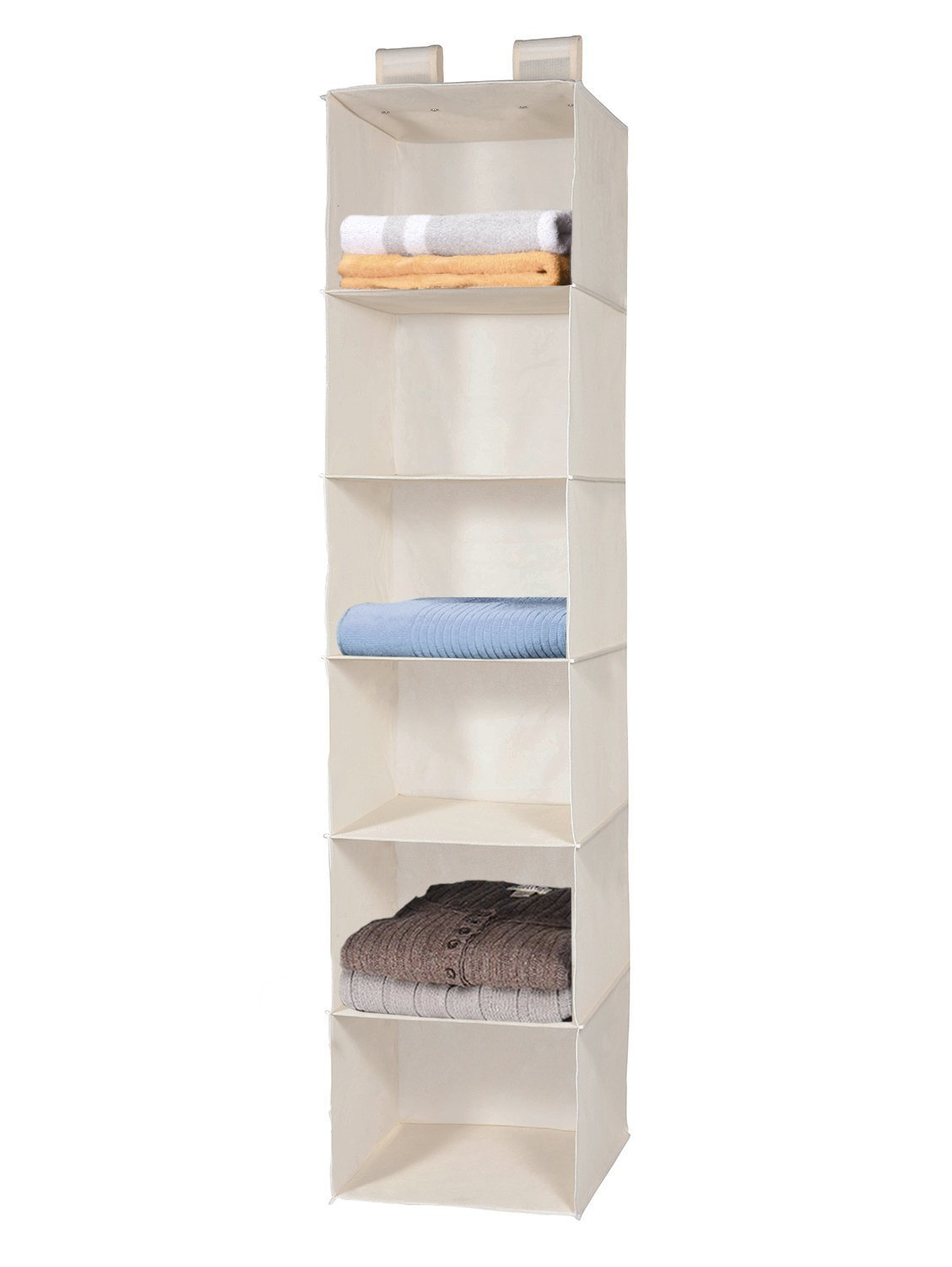 MaidMax 6 Shelves Collapsible Hanging Closet Organizer With 2 Widen Vercros  For Clothes And Shoes Storage