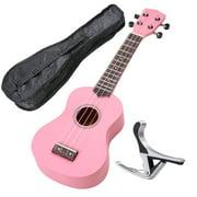 """21"""" Pink Ukulele Basswood w/ Bag Aluminum Capo For Adult Kids Study Musical Instrument Hobby"""