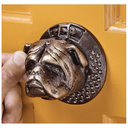 Design Toscano Bulldog Authentic Foundry Iron Door Knocker: Set of Two