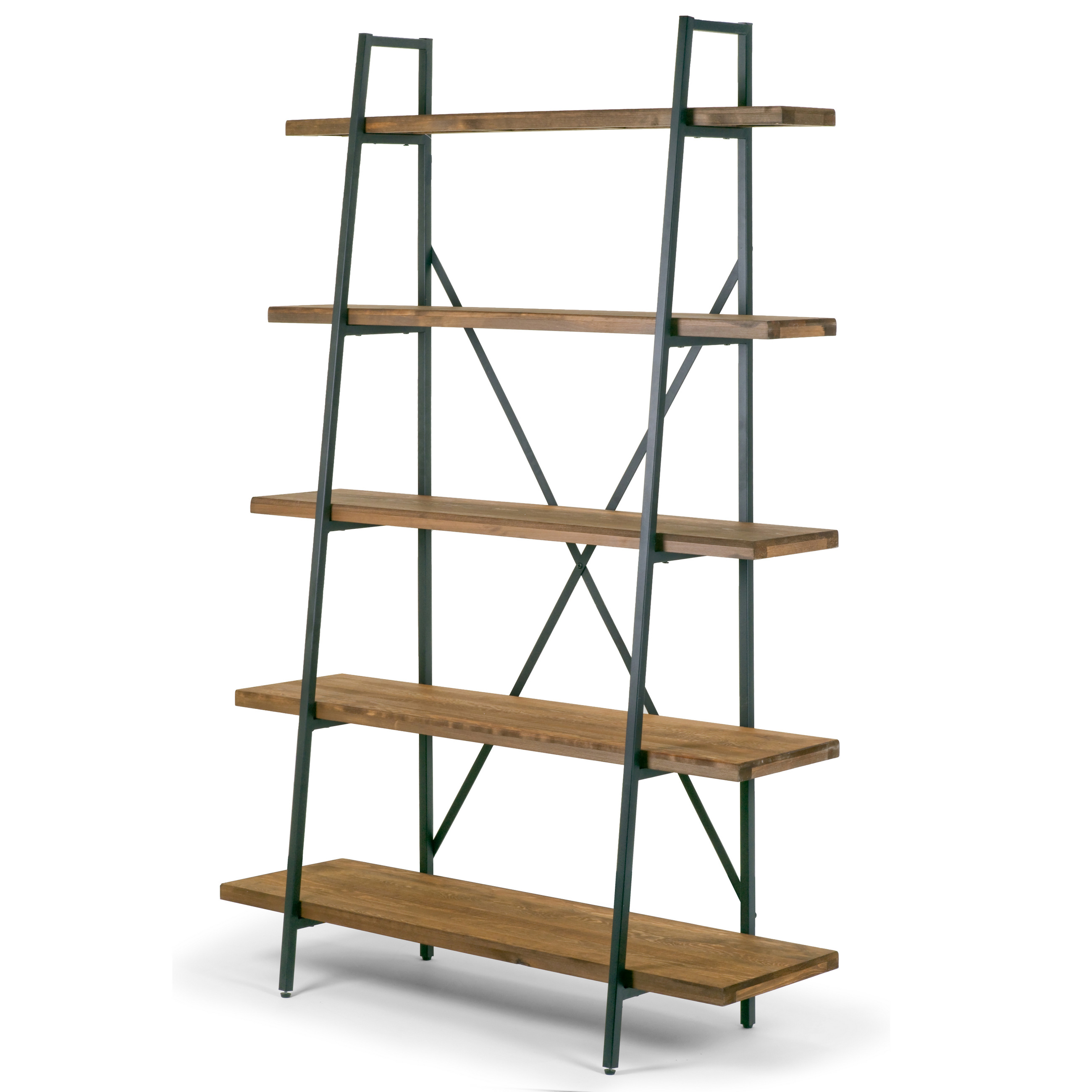 "Ailis 71.5"" Leaning Etagere Brown Pine Wood Metal Frame Bookcase Five-shelf Media Tower by Glamour Home"