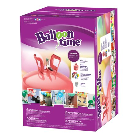 Balloon Time 12in Jumbo Helium Tank Kit, Includes 50 Balloons & Ribbon - Helium Container