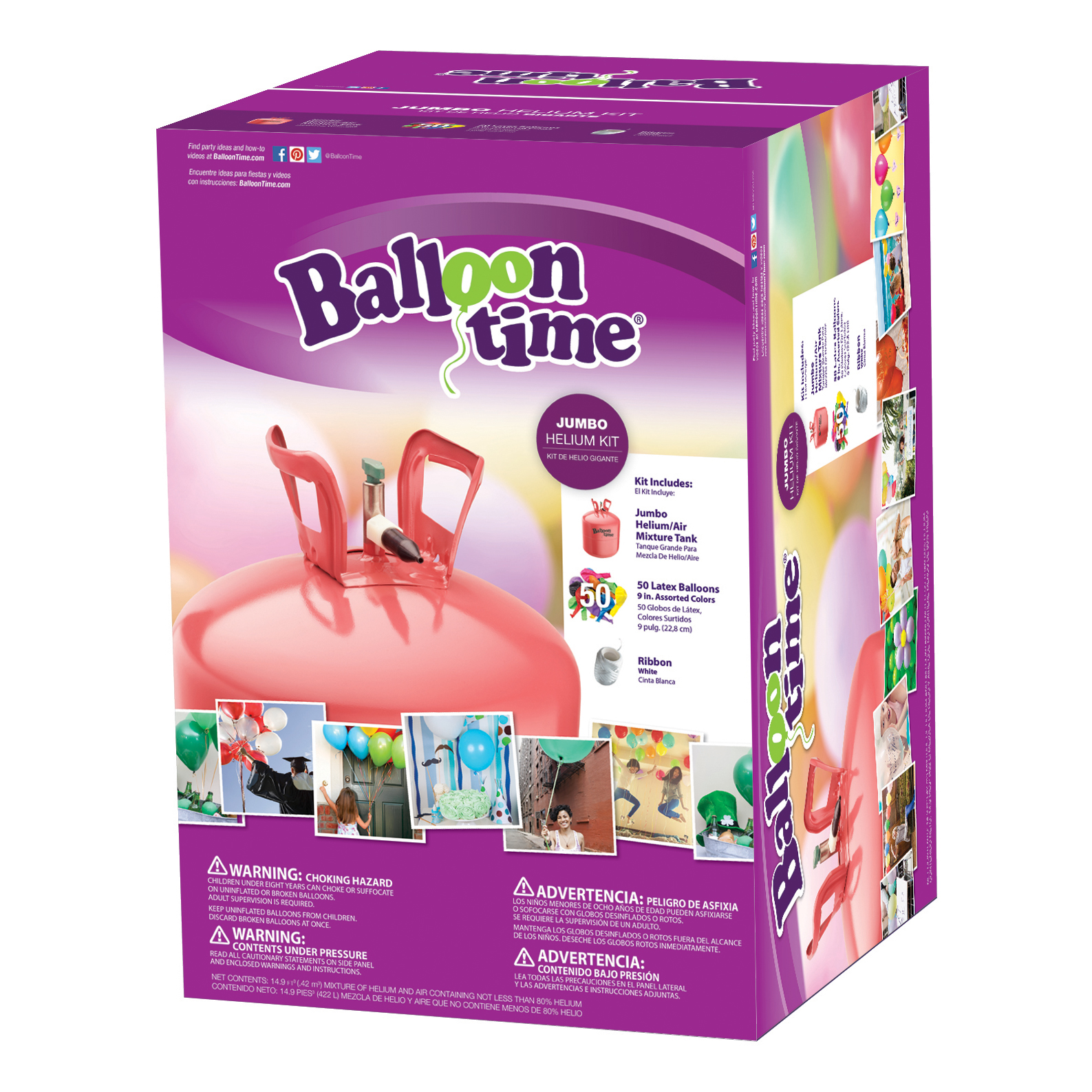 Balloon Time 12in Jumbo Helium Tank Kit, Includes 50 Balloons & Ribbon