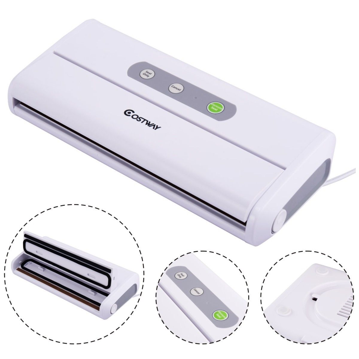 Click here to buy Costway Electric Food Packing Vacuum Sealer Machine Home Foodsaver Storage Meal Sealing by Costway.