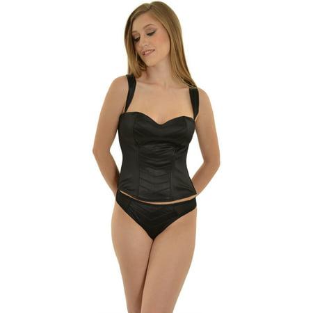 Womens Fashion Black Corset Top and Thong Panty 2 Piece Set Convertible Straps