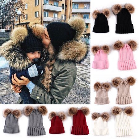 Newborn Baby Boy Girl Mom Mother Winter Warm Pom Pom Bobble Beanie Hat Xmas Gift