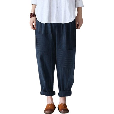 - ZANZEA Women's Cotton Linen Narrow Pocket Striped Pants