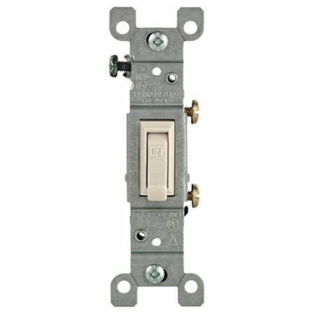 Leviton 1451-2T 15 Amp, 120 Volt, Toggle Framed Single-Pole AC Quiet Switch, Residential Grade, Grounding, Light -