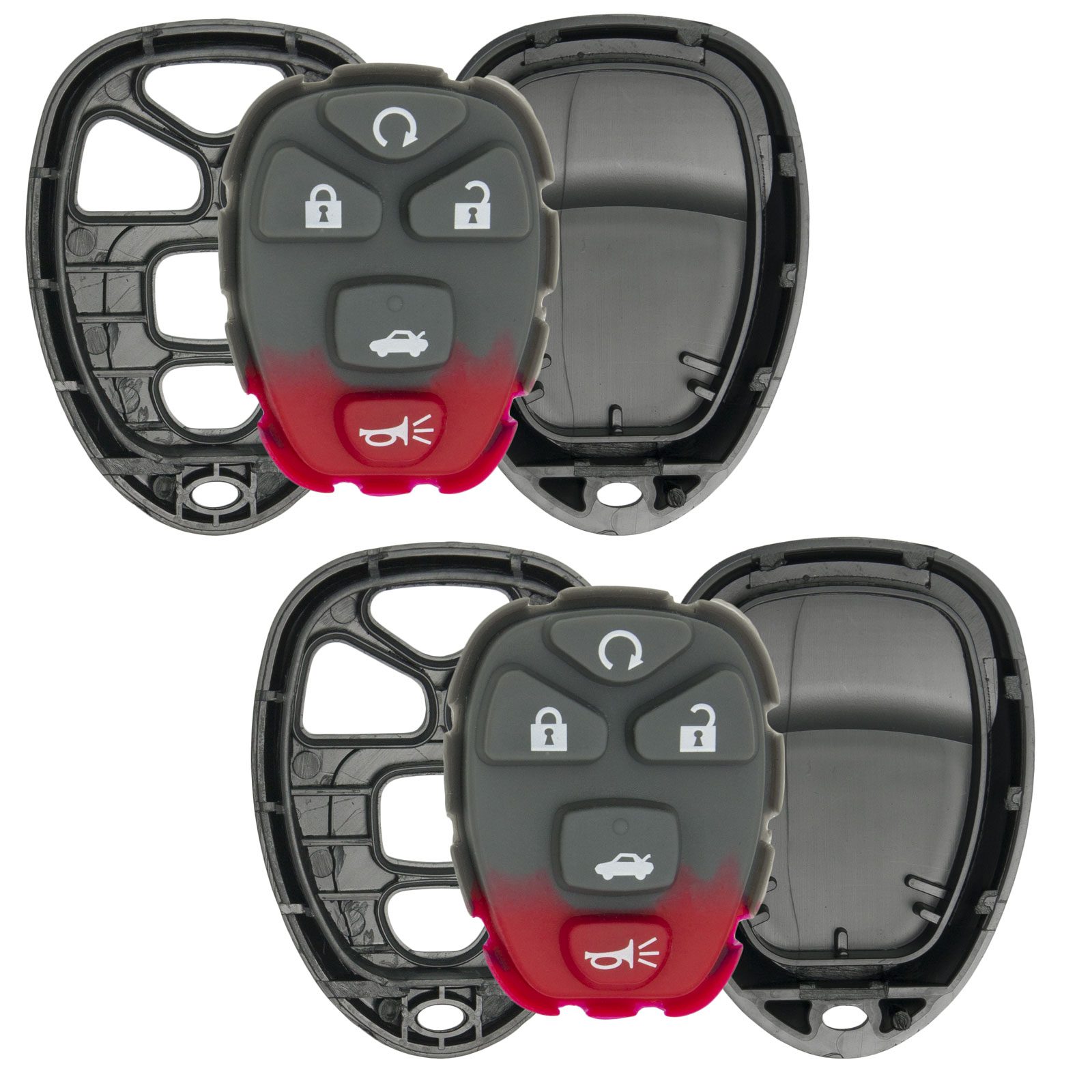 Keyless2Go New Replacement Shell Case and 5 Button Pad for Remote Key Fob with FCC KOBGT04A - SHELL ONLY (2 Pack)