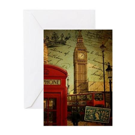 CafePress - Vintage London UK Fashion - Greeting Card, Blank Inside Glossy - Halloween Greeting Cards Uk