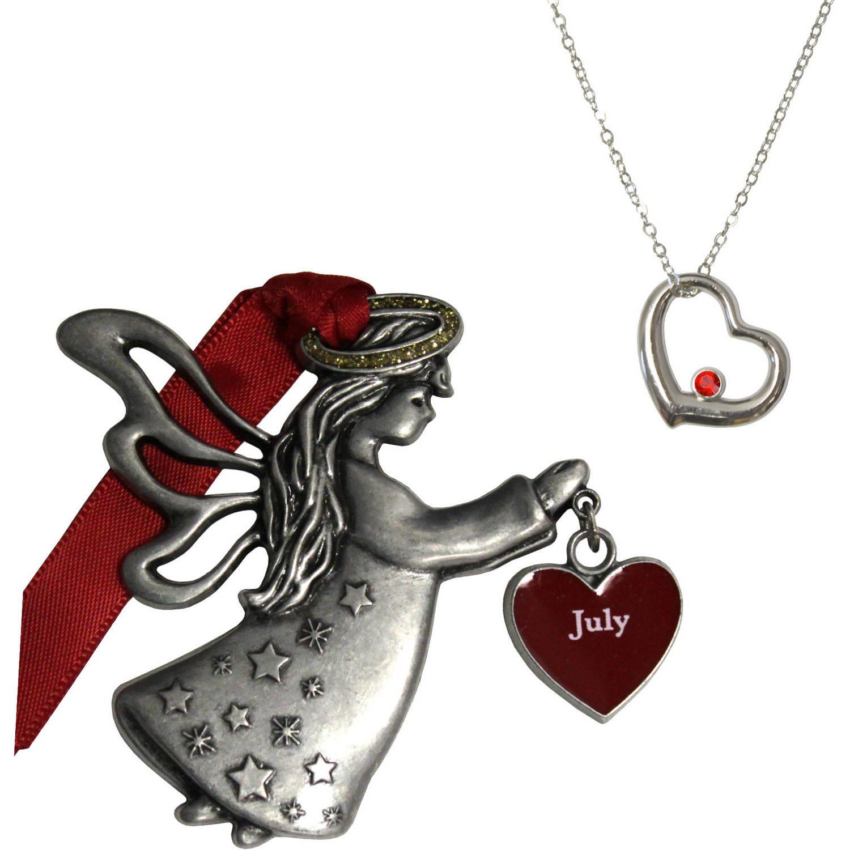 Gloria Duchin July Birthstone Angel Ornament and Necklace Set