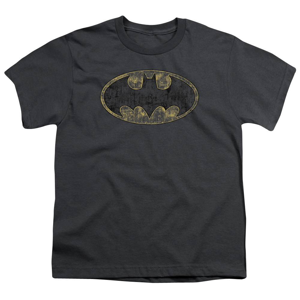 Batman/Tattered Logo   S/S Youth 18/1   Charcoal     Bm2364