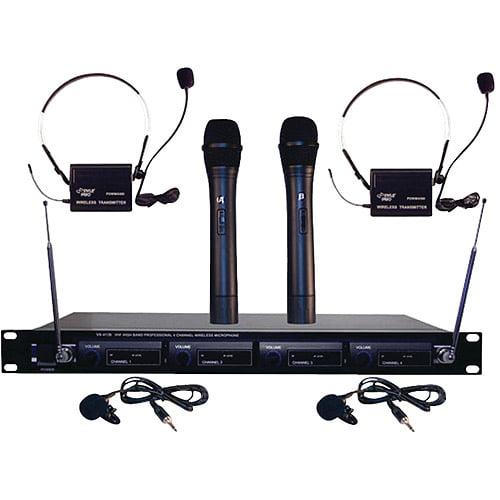 Pyle Pro PDWM4300 4-Microphone VHF Wireless Microphone System