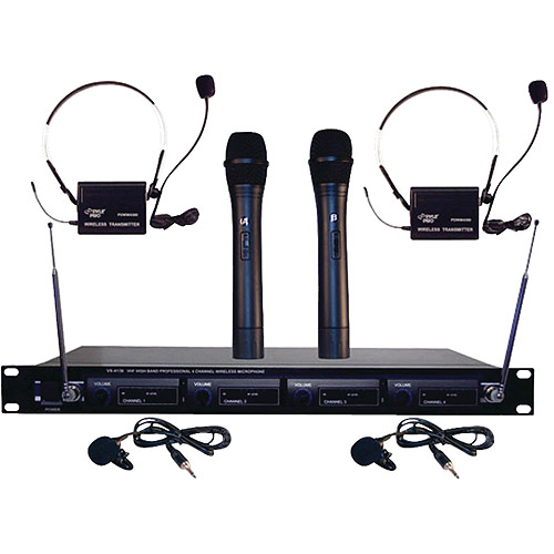 Pyle Pro PDWM4300 4-Microphone VHF Wireless Microphone System