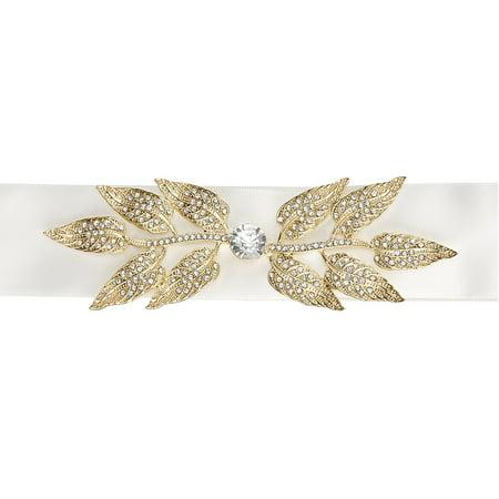 David Tutera Wedding Dress Belt  Ivory Satin Sash With Gold Leaf Embellishment  1 Bridal Wedding Dress Belt Per Package By Darice