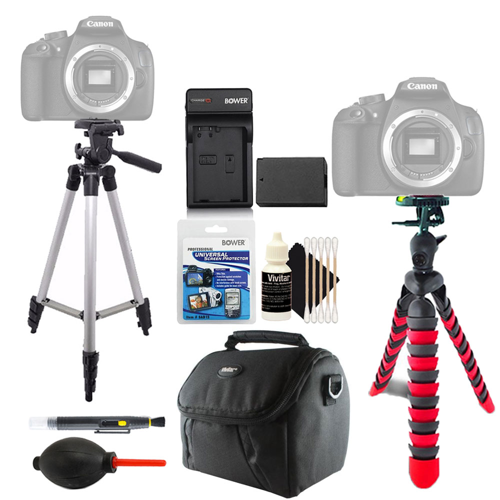 Tall and Flexible Tripod with Replacement LP-E10 Battery for Canon  EOS Rebel T3 T5 T6 1200D 1300D DSLR Camera