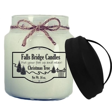 Christmas Tree Scented Jar Candle, Medium 16-Ounce Soy Blend, Falls Bridge Candles