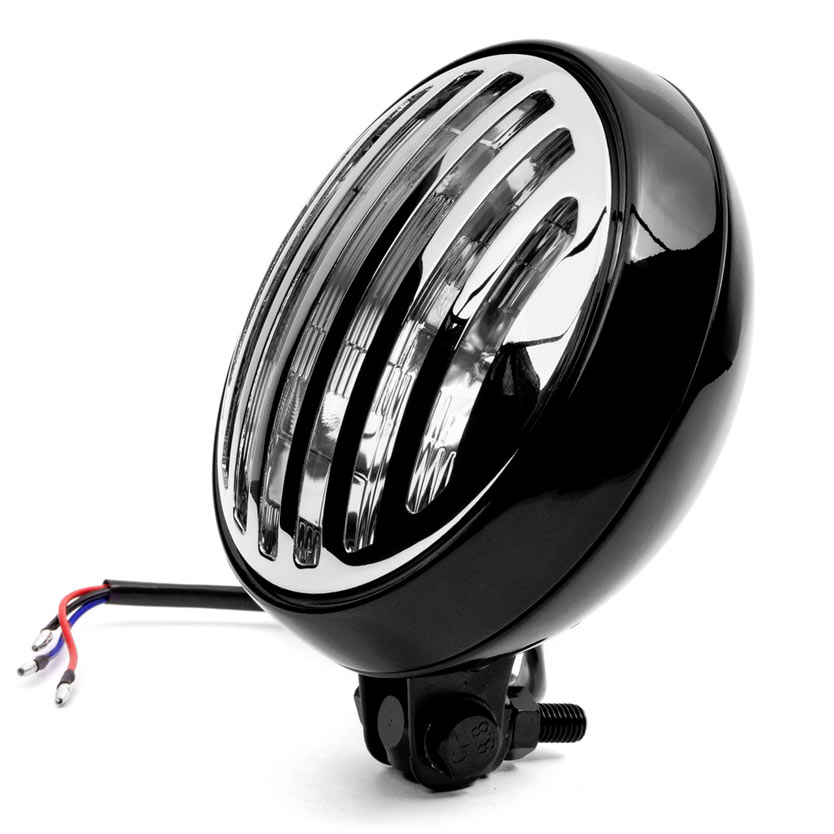 """Krator 6"""" Black & Chrome Motorcycle Headlight with Grill High Low Headlamp Bottom Mount - image 5 of 7"""