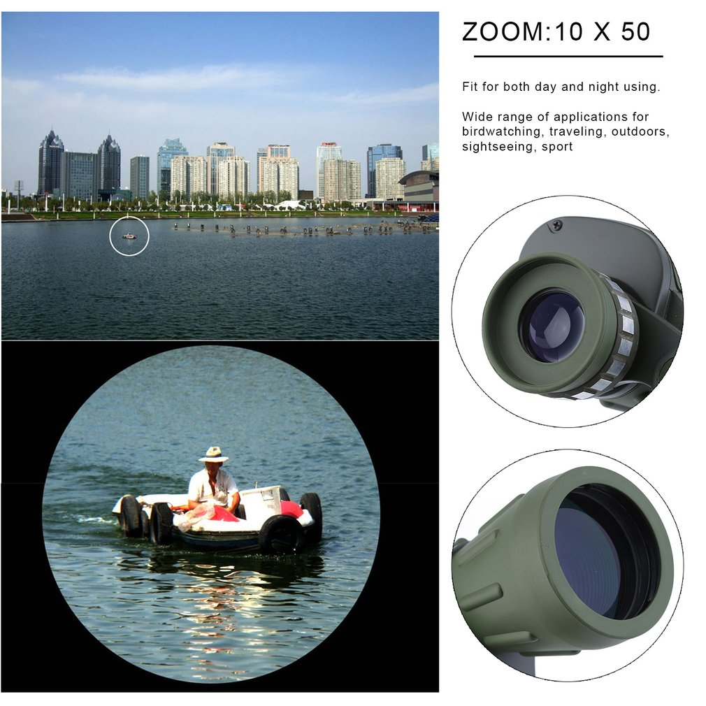 """""""Day Night 10x50 Military Army Zoom High Power Binoculars Telescope For Outdoor Activities Hunting Camping"""""""