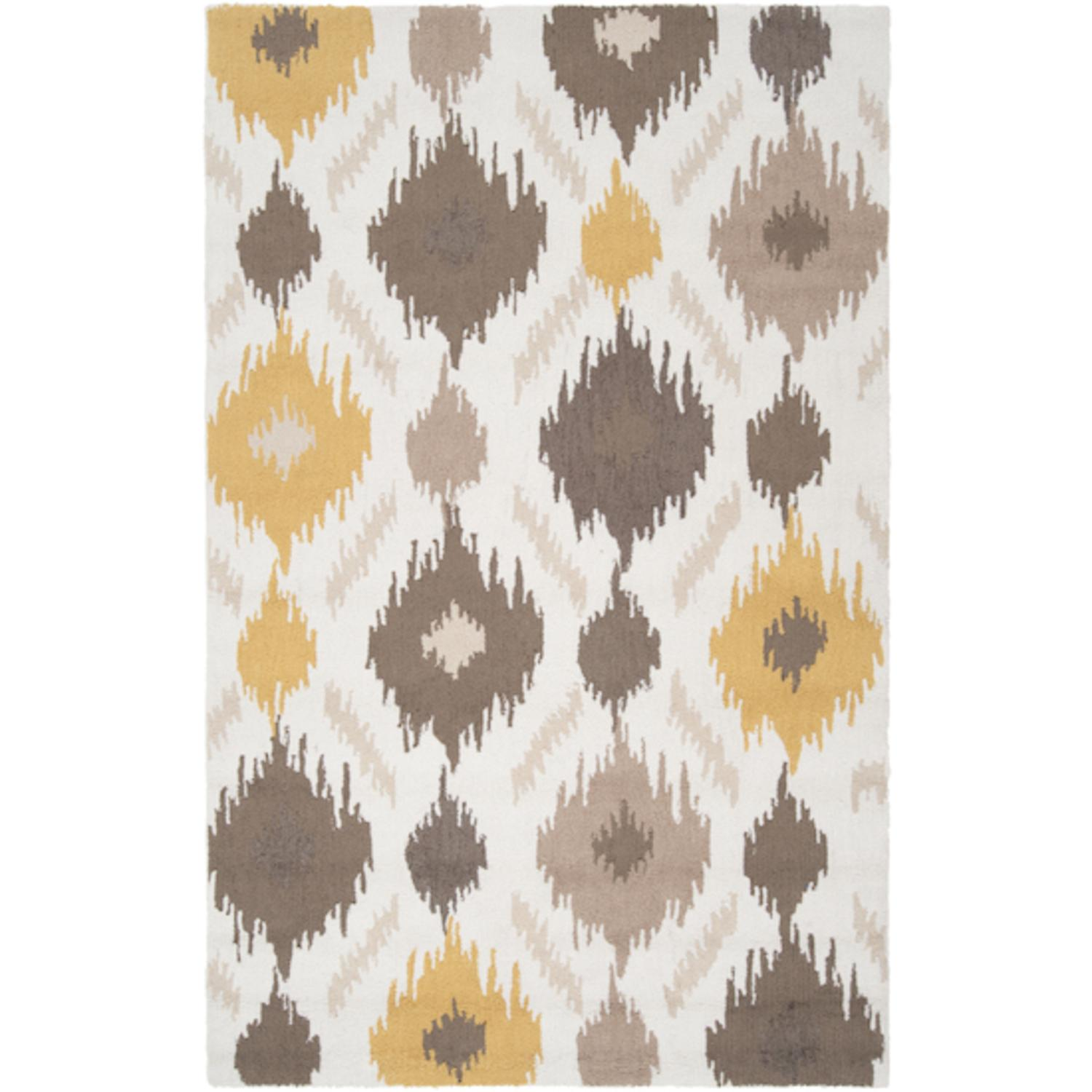 5' x 8' Amarillo Gold, Mushroom and Feather Gray Hand Hooked Area Throw Rug