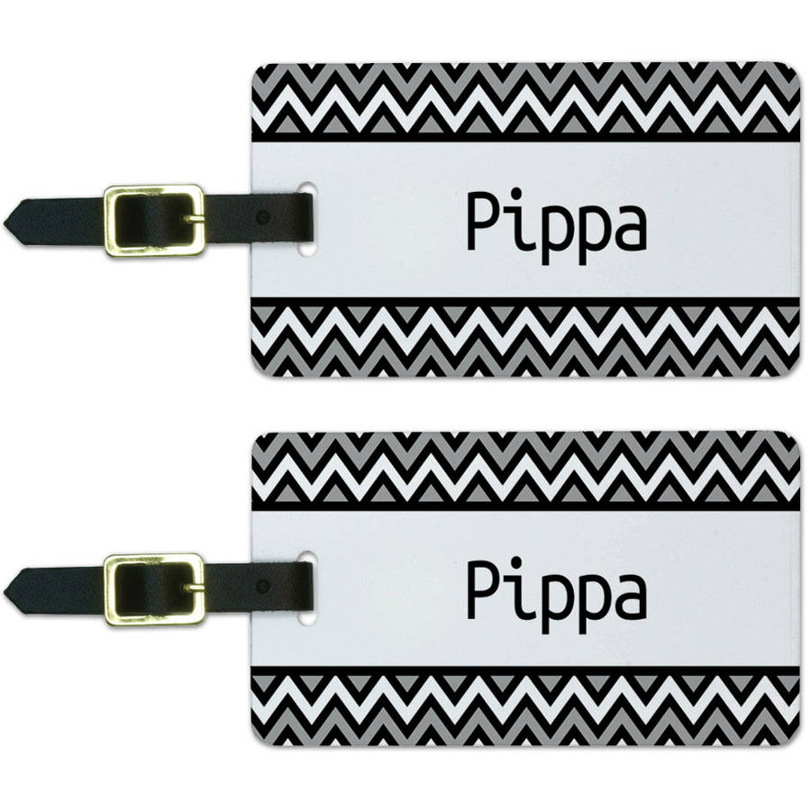 Pippa Black and Grey Chevrons Luggage Suitcase Carry-On ID Tags, Set of 2
