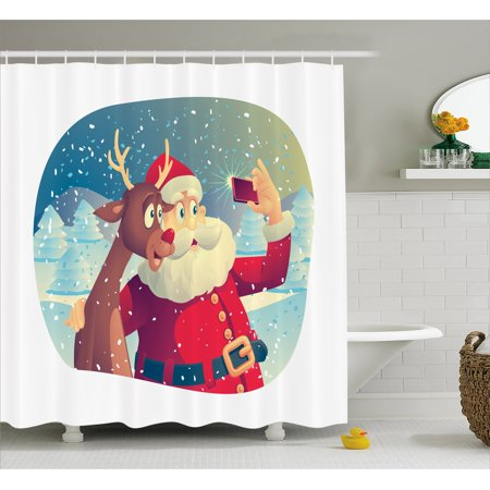 Santa Shower Curtain, Best Friends Taking a Funny Christmas Selfie with Cellphone in a Snowy Winter Forest, Fabric Bathroom Set with Hooks, 69W X 70L Inches, Multicolor, by