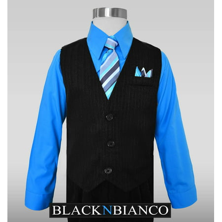 Boys Pinstripe Dress Suit, with Vest, Shirt, Tie and Pants (Two Piece Dress Suit)