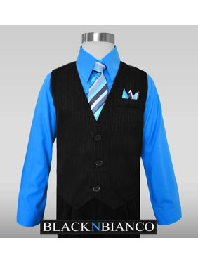 Boys Pinstripe Dress Suit, with Vest, Shirt, Tie and Pants Set