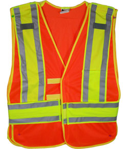 Orange Class II MESH First Responder Safety Vest with Lime Silver Stripes and 5 point tearaway, Standard size by